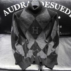 111041 H 쉐도우 다이아 체크 목폴라 니트 스웨터(Black)