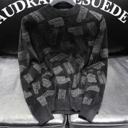 110930 벨벳 레터링 라운드넥 니트 스웨터(Black)