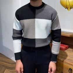 110873 데일리 스퀘어 배색 울 니트 스웨터(2Color)