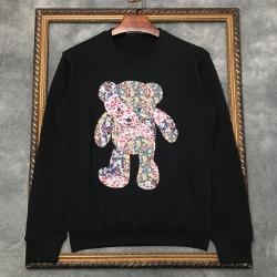 111016 플라워 베어 프린팅 맨투맨 티셔츠(Black/110)