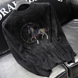 110912 H 로열 홀스 프린팅 니트 스웨터(Black)