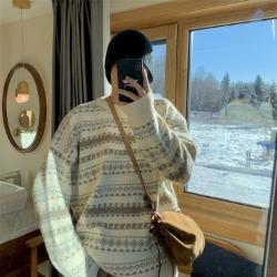 110969 에스닉 자가드 라운드 니트 스웨터(Ivory)
