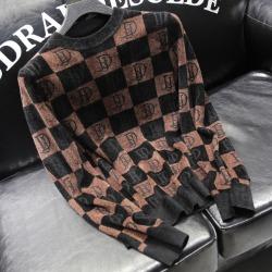 110921 DI 체크 레터링 니트 스웨터(Brown)