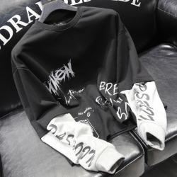 110929 스컬 레터링 레이어드 맨투맨 티셔츠(Black)