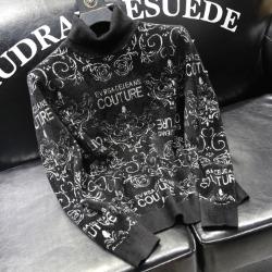 111042 레터링 로즈 자수 목폴라 니트 스웨터(Black)