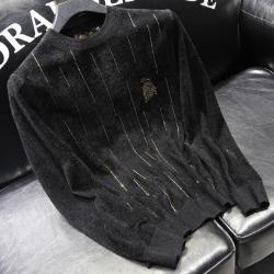 110905 골든 핀 스트라이프 니트 스웨터(Black)