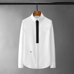 110989 DI 앞띠 배색 히든버튼 긴팔 셔츠(2Color)