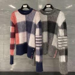 111026 TH 모헤어 사선 체크 울 니트 스웨터(2Color)