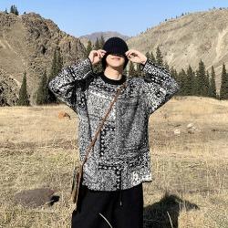 110985 에스닉 레이어 패턴 니트 스웨터(Black)