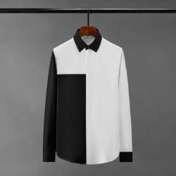 111082 카라 소매 배색 히든버튼 긴팔 셔츠(2Color)