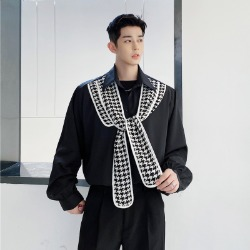 111132 하운드투스 스카프 레이어드 긴팔 셔츠(Black)