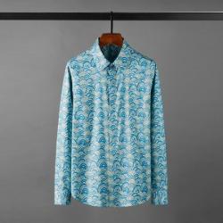 111140 멀티 웨이브 플라워 히든버튼 긴팔 셔츠(Blue)