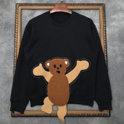 111072 플러피 베어 패치 기모 맨투맨 티셔츠(2Color)
