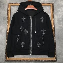 111049 레더 크로스 패치 기모 후드 집업 티셔츠(Black)