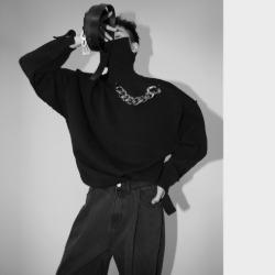 111058 볼드 체인 데미지 오버핏 헤비 울 터틀넥 니트(Black)
