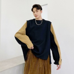 111133 데끼 배색 풀오버 스웻 티셔츠(Black)