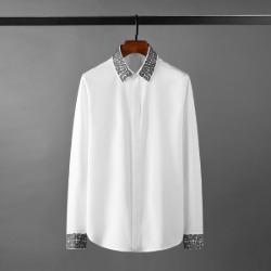 111141 지오메트릭 카라 소매 자수 긴팔 셔츠(2Color)