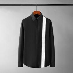 111081 체스트 세로줄 배색 히든버튼 긴팔 셔츠(2Color)