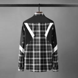 111143 플란넬 사선배색 히든버튼 긴팔 셔츠(Black)