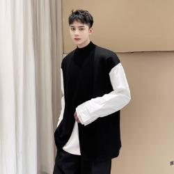 111155 체스트 절개 소매배색 긴팔 티셔츠(Black)