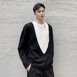 111161 딥 V존 레이어드 긴팔 티셔츠(Black)