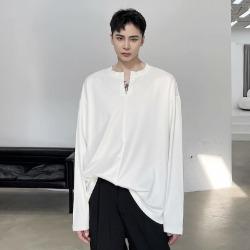 111159 V 절개 헨리넥 루즈핏 긴팔 티셔츠(2color)