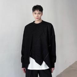 111156 언밸런스 컷팅 숏 레이어드 긴팔 티셔츠(Black)