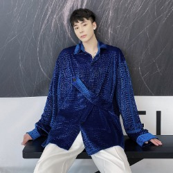 111154 스네이크 패턴 벨벳 긴팔 셔츠(2color)