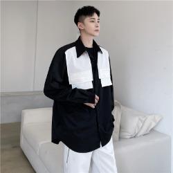 111158 체스트 포켓 레이어드 긴팔 셔츠(2color)