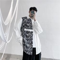 111302 웨이브 배색 루즈핏 긴팔 셔츠(2color)