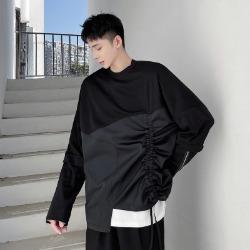 111300 소매 지퍼 스트링 레이어드 긴팔 티셔츠(Black)