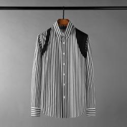 111353 DI 숄더 벨트 레이어드 스트라이프 긴팔셔츠(Black)