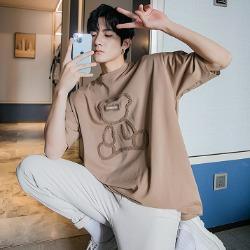 111364 후리스 베어 프린팅 루즈핏 반팔 티셔츠(3color)