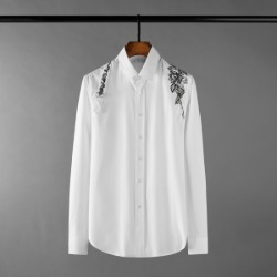 111349 DI 플라워 숄더 벨트 레이어드 긴팔 셔츠(White)