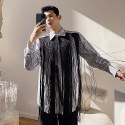 111384 체스트 테슬 스트라이프 긴팔 셔츠(Black)