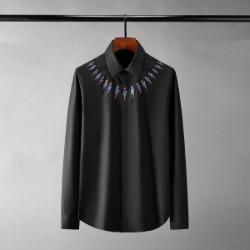 111345 NE 썬더 넥 프린팅 히든버튼 긴팔 셔츠(2color)