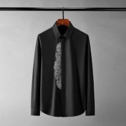 111346 플래킷 플라워 자수 히든버튼 긴팔 셔츠(2color)