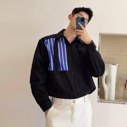 111441 체스크 스트라이프 배색 루즈핏 긴팔 셔츠(2color)