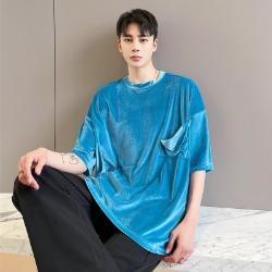 111489 미니멀 벨벳 루즈핏 반팔 티셔츠(2color)