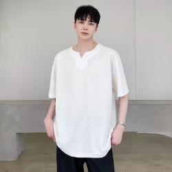 111504 립 V 넥 루즈핏 반팔 티셔츠(2color)