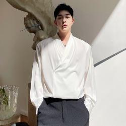111492 Y넥 숄카라 쉬폰 긴팔 셔츠(2color)