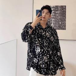 111442 미니멀 레오파드 루즈핏 긴팔 셔츠(2color)