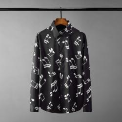 111434 멀티 노트 프린팅 긴팔 셔츠(Black)