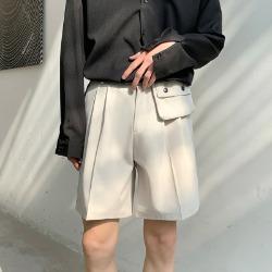 111438 루즈핏 코인 포켓 핀턱 하프 팬츠(2color)
