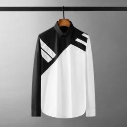111512 더블 사선 배색 히든 버튼 긴팔 셔츠(White)