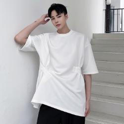 111486 언발란스 테이핑 루즈핏 반팔 티셔츠(2color)