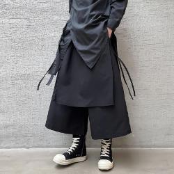 111412 루즈핏 레이어드 와이드 밴딩 8부 팬츠(Black)