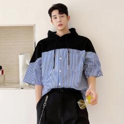 111515 스트라이프 배색 하프 후드 티셔츠(Black)