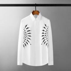 111510 썬더 하프 서클 프린팅 긴팔 셔츠(White)