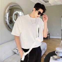 111491 크로스백 레이어드 반팔 티셔츠(White)